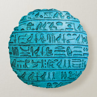 Ancient Egyptian Hieroglyphs Blue Round Cushion