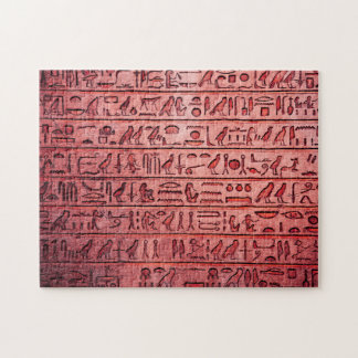 Ancient Egyptian Hieroglyphs Red Jigsaw Puzzle