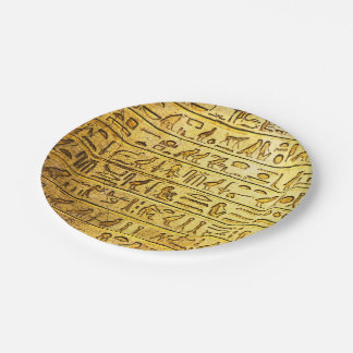Ancient Egyptian Hieroglyphs Yellow Paper Plate