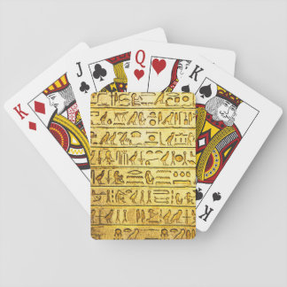Ancient Egyptian Hieroglyphs Yellow Playing Cards