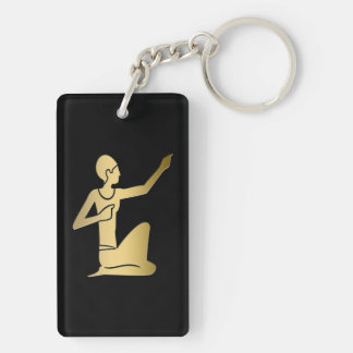 Ancient Egyptian pointing figure Double-Sided Rectangular Acrylic Key Ring
