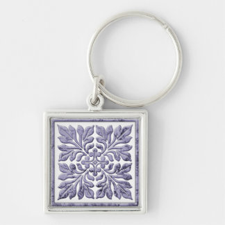 Ancient english tile cool faded blue key chains