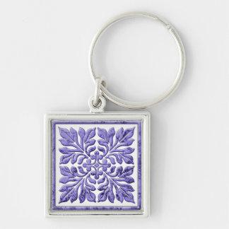Ancient english tile cool purple keychain
