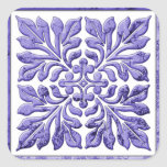 Ancient english tile cool purple square sticker