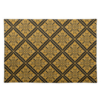 Ancient english tile shiny bright gold placemat