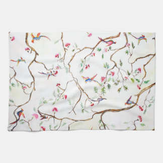 Ancient, flowers, birds, like old wallpaper hand towels