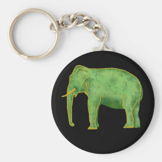 Ancient Gold and Jade Elephant Basic Round Button Key Ring