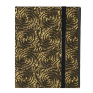 Ancient Golden Celtic Spiral Knots Pattern iPad Folio Case