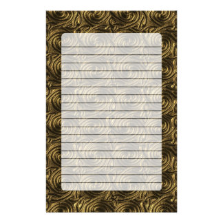 Ancient Golden Celtic Spiral Knots Pattern Stationery Paper