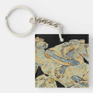 ancient greek fish painting fresco art mural resto Double-Sided square acrylic key ring