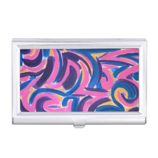 Ancient Greek Graffiti-Abstract Art Hand Painted Business Card Holder