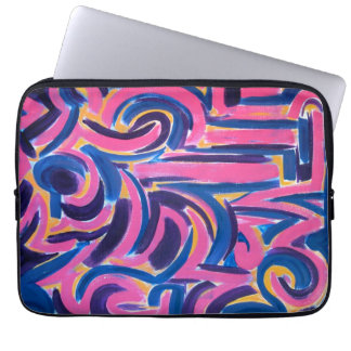Ancient Greek Graffiti-Abstract Art Hand Painted Laptop Sleeve