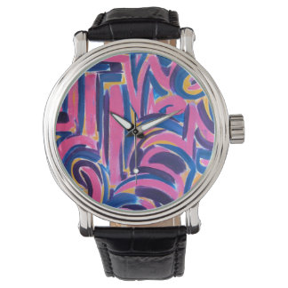 Ancient Greek Graffiti-Abstract Art Hand Painted Wristwatch