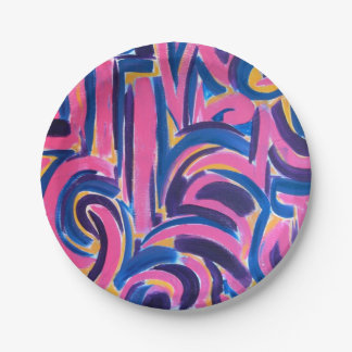Ancient Greek Graffiti-Hand Painted Brushstrokes Paper Plate