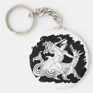 Ancient Greek Hero and the Dragon Basic Round Button Key Ring