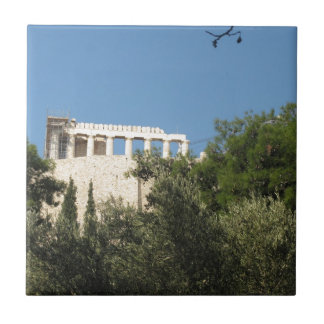 Ancient Greek Parthenon from afar Small Square Tile