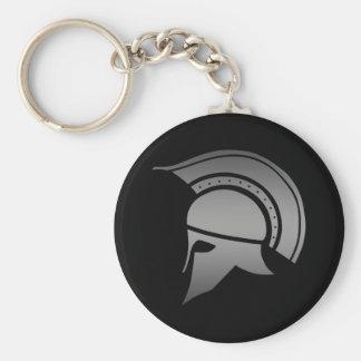 Ancient Greek Spartan Helmet Basic Round Button Key Ring