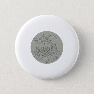 Ancient Greek Trireme Warship Circle Drawing 6 Cm Round Badge