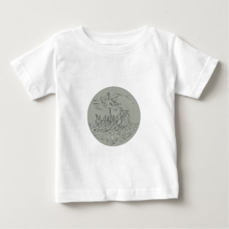 Ancient Greek Trireme Warship Circle Drawing Baby T-Shirt