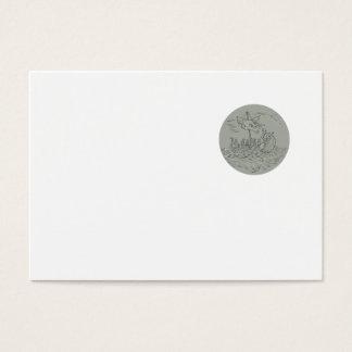 Ancient Greek Trireme Warship Circle Drawing Business Card