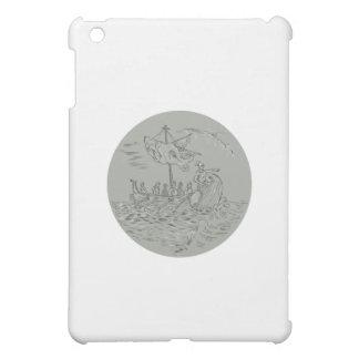 Ancient Greek Trireme Warship Circle Drawing iPad Mini Covers