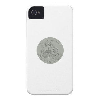 Ancient Greek Trireme Warship Circle Drawing iPhone 4 Cover