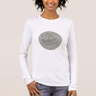 Ancient Greek Trireme Warship Circle Drawing Long Sleeve T-Shirt