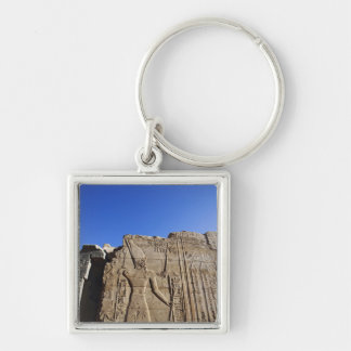 Ancient hieroglyphs on wall, Temple of Karnak, Silver-Colored Square Key Ring