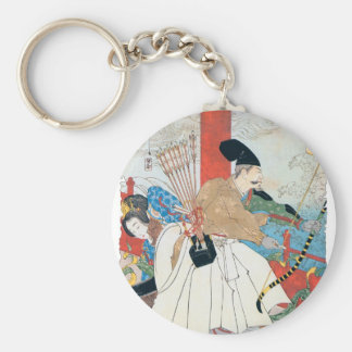 Ancient Japanese Archer Painting Basic Round Button Key Ring