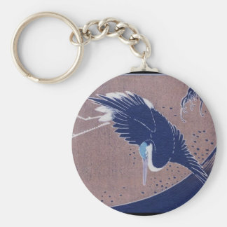 Ancient Japanese Bird Painting, c. 1830's Basic Round Button Key Ring