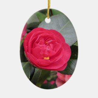 Ancient japanese cultivar of red Camellia japonica Ceramic Ornament