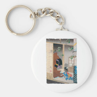Ancient Japanese Demon Painting Basic Round Button Key Ring