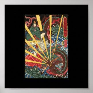Ancient Japanese Dragon Painting Circa 1860's Poster