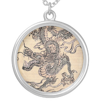 Ancient Japanese dragon Silver Plated Necklace