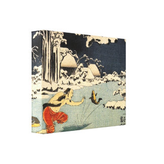 Ancient Japanese Ice Fishing Gallery Wrap Canvas