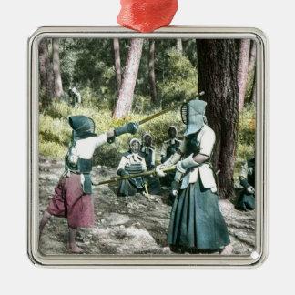 Ancient Japanese Kendo Martial Art Vintage Japan Metal Ornament