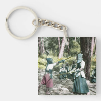 Ancient Japanese Kendo Martial Art Vintage Japan Single-Sided Square Acrylic Key Ring