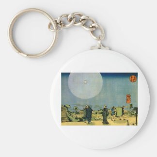 Ancient Japanese Painting, Moon. Circa 1800's. Key Chain