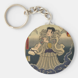 Ancient Japanese Painting of Giant Toad Basic Round Button Key Ring