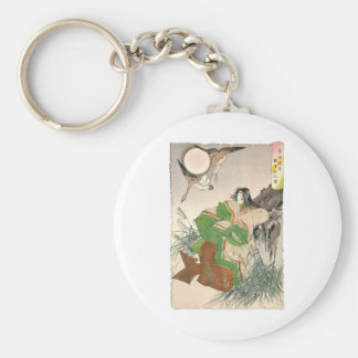 Ancient Japanese Painting of Woman and Geese Keychain