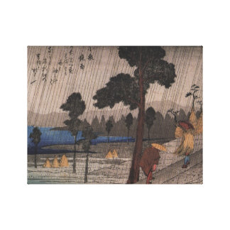 Ancient Japanese Village in the Rain Canvas Prints