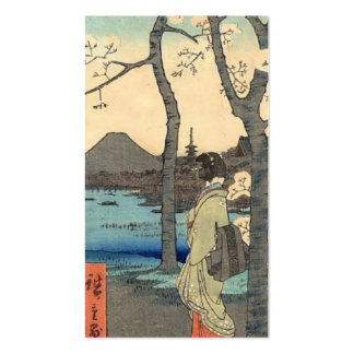 Ancient Japanese Woman gazing at Mt. Fuji Pack Of Standard Business Cards