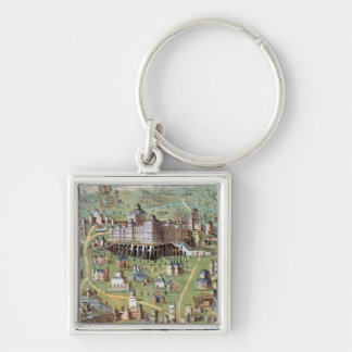 ANCIENT JERUSALEM Silver-Colored SQUARE KEY RING