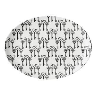 Ancient keys Porcelain Coupe Platter