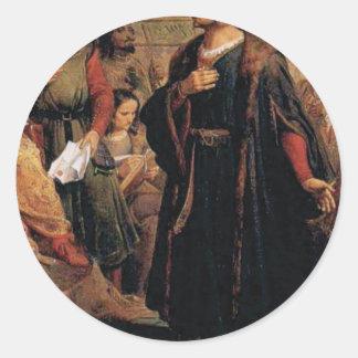 ancient man in black robe classic round sticker