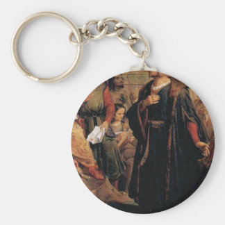 ancient man in black robe key ring