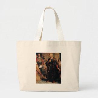 ancient man in black robe large tote bag
