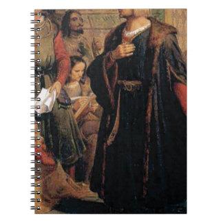 ancient man in black robe spiral notebook