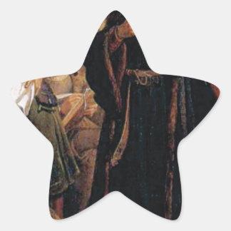 ancient man in black robe star sticker
