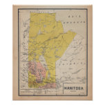 Ancient Manitoba 1920 French Map Poster